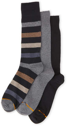 Gold Toe 3-Pack Cotton Stripe Crew Socks