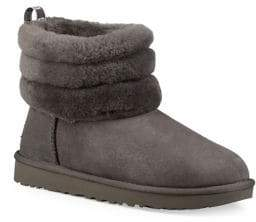UGG Fluff Mini Quilted Suede and Shearling Boots