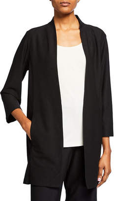 Eileen Fisher Open-Front 3/4-Sleeve Lightweight Stretch Crepe Jacket, Plus Size
