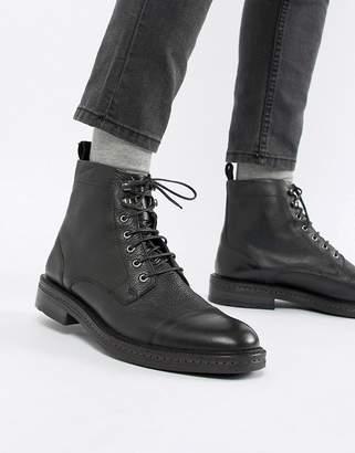 WALK LONDON WALK London Wolf toe cap lace up boots in black