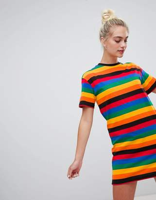 Daisy Street short sleeve t-shirt Dress in rainbow stripe