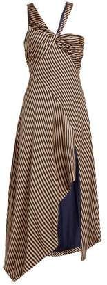 Jonathan Simkhai Asymmetric Striped Gown - Womens - Beige Navy