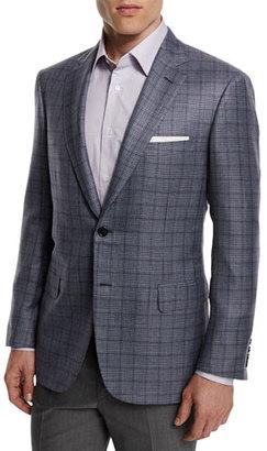 Brioni Plaid Cashmere-Blend Sport Coat, Gray $6,250 thestylecure.com