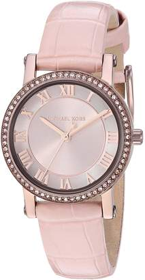 Michael Kors Women's 'Norie' Quartz Stainless Steel and Leather Casual Watch, Color: (Model: MK2723)
