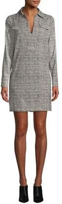 Badgley Mischka Herringbone Long-Sleeve Shirt Dress