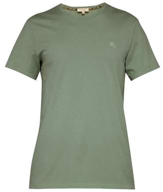 Burberry Logo Embroidered T Shirt - Mens - Green