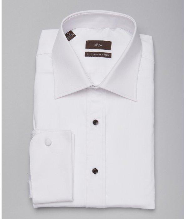 Alara white birds eye cotton point collar tuxedo shirt