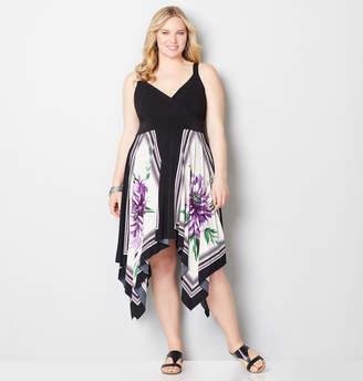 Avenue Purple Floral Handkerchief Empire Dress