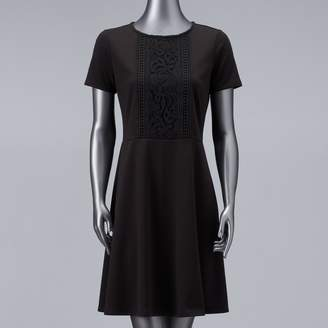 Vera Wang Women's Simply Vera Lace Inset Fit & Flare Dress