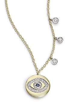 Meira T Women's Sapphire, Diamond & 14K Yellow Gold Evil Eye Disc Charm Necklace