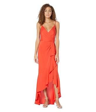 BCBGMAXAZRIA High-Low Faux Wrap Gown