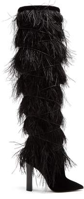 Saint Laurent Yeti feather-embellished over-the-knee boots