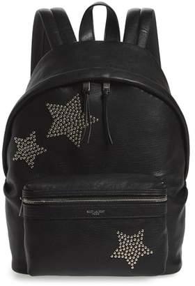 Saint Laurent Mini City Stars Leather Backpack