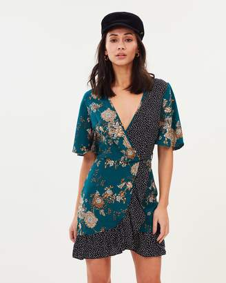 Missguided Floral & Polka Dot Mini Tea Dress