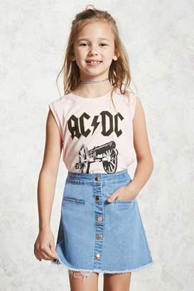 Forever 21 Girls Frayed Denim Skirt (Kids)