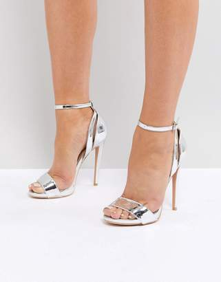 Lost Ink Metallic Silver High Heeled Sandals