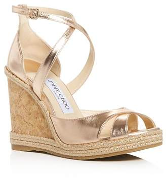 Jimmy Choo Women's Alanah 105 Crisscross Wedge Sandals