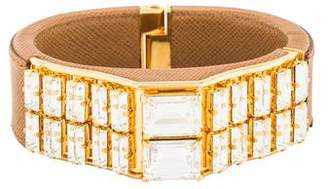 Prada Orchidea Leather & Crystal Bangle