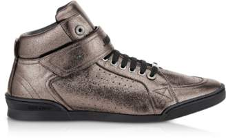 Jimmy Choo Lewis EOE Gunmetal Metallic Soft Leather High Top Sneakers