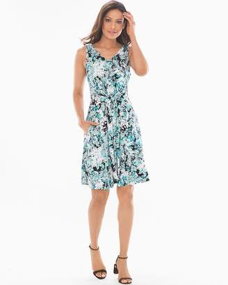 Soft Jersey Sleeveless Knot Front Dress Overtly Floral Green