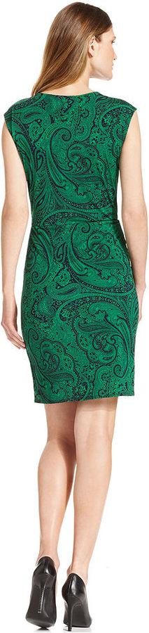 MICHAEL Michael Kors Dress, Sleeveless Faux-Wrap Tulip-Hem Printed