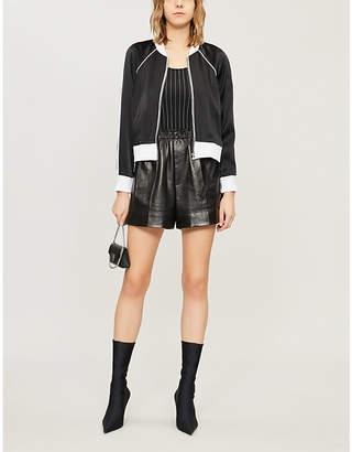 Good American Side-stripe satin bomber jacket