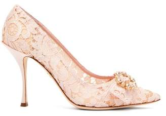 Dolce & Gabbana Lori Crystal Embellished Lace Pumps - Womens - Nude