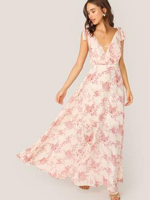 Shein Knot Strap Backless Floral Print Maxi Dress