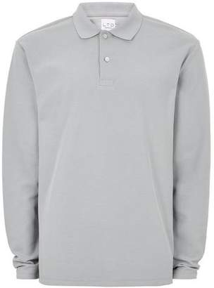 Topman Mens Grey LTD Gray Long Sleeve Polo