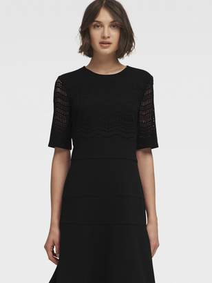DKNY Fit-And-Flare Dress With Laser-Cut Bodice