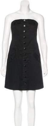 Robert Rodriguez Strapless Button-Up Dress