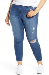 1822 Denim Split Hem Distressed Skinny Jeans