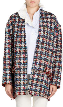 Isabel Marant Jamsy Button-Front Oversized Tweed Caban Coat