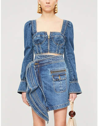 Self-Portrait Self Portrait x Lee flared-cuff denim bustier top