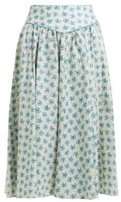 Batsheva Floral Print Cotton Knee Length Skirt - Womens - Cream Multi