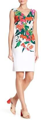 Donna Ricco Floral Print V-Neck Dres
