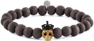 Tateossian Men's Natural Bead & Skull Bracelet, Size L