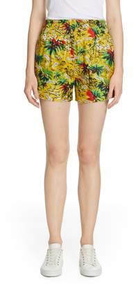 Roseanna Tropical Print Silk Shorts