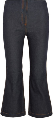 McQ Alexander McQueen - Cropped High-rise Bootcut Jeans - Dark denim $320 thestylecure.com