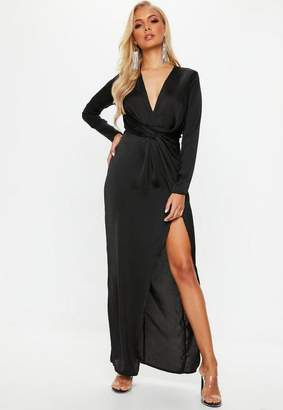 Missguided Black Wrap Front Maxi Dress
