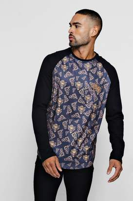 boohoo Long Sleeve BM Baroque Print T-Shirt With Curve Hem