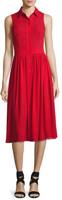Michael Kors Sleeveless Silk Georgette Shirtdress, Crimson