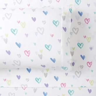 Pottery Barn Teen Bright Heart Organic Flannel Sheet Set, Queen, Multi