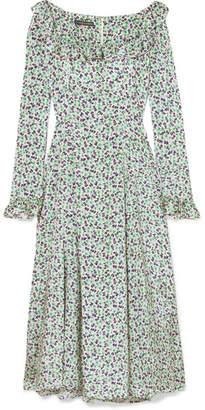 ALEXACHUNG Ruffle-trimmed Floral-print Voile Midi Dress - Green