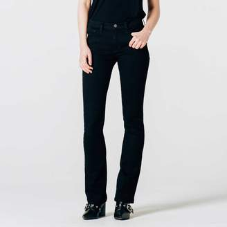 DSTLD Womens Mid Rise Skinny Flare Jeans in Black