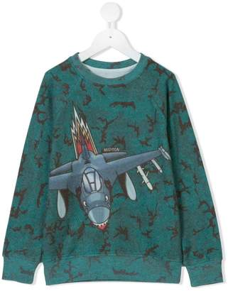 Madson Discount Kids shark plane print sweatshirt