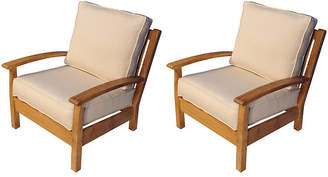 Regal Teak Canvas Deep-Seating Club Chairs - Set of 2