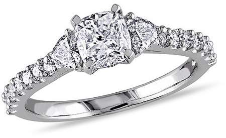 Miabella 1-1/4 Carat T.W. Cushion and Heart with Round-Cut Diamond 14kt White Gold Engagement Ring