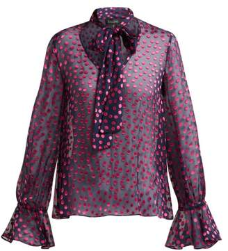 Saloni Lauren Devore Silk Blend Blouse - Womens - Navy Multi
