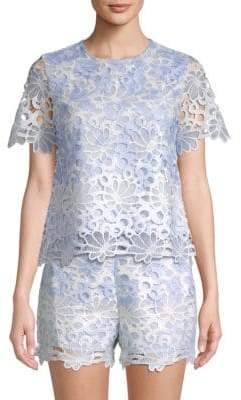 ENGLISH FACTORY Floral Short-Sleeve Top